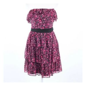 WHBM Strapless Floral Print Tiered Dress